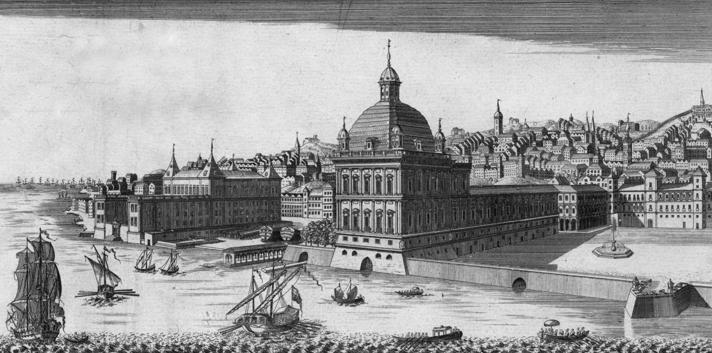 Palácio dos Duques de Aveiro no lado esquerdo da imagem