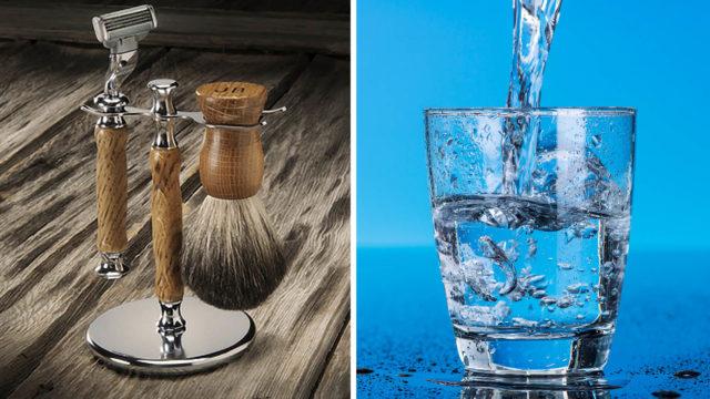 Fazer a barba e Copo de água