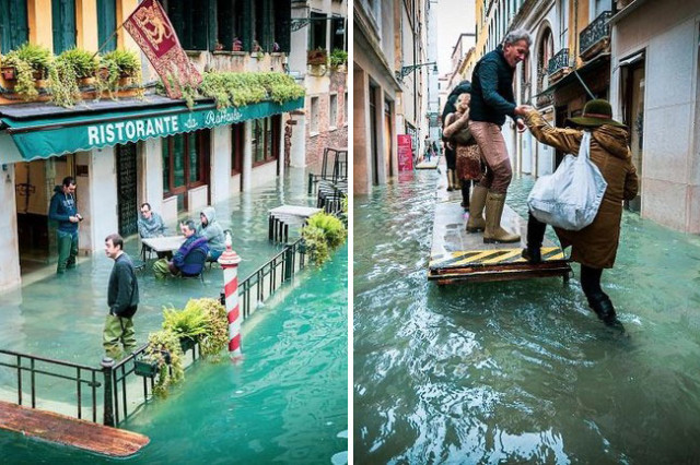 Veneza durante inundação