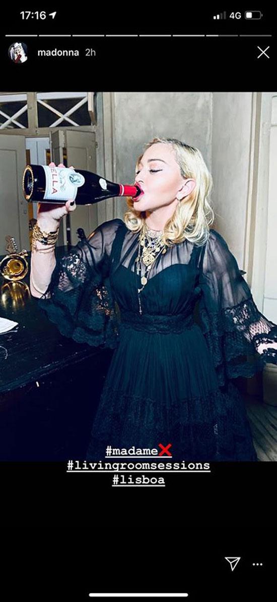 Madonna bebeu vinho tinto português