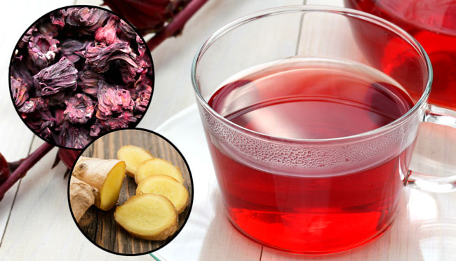chá de hibisco com gengibre