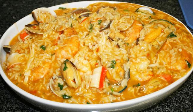 receitas de arroz de marisco