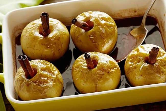 receitas de maçã assada com vinho