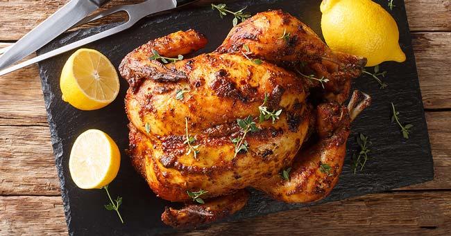 A receita de frango assado