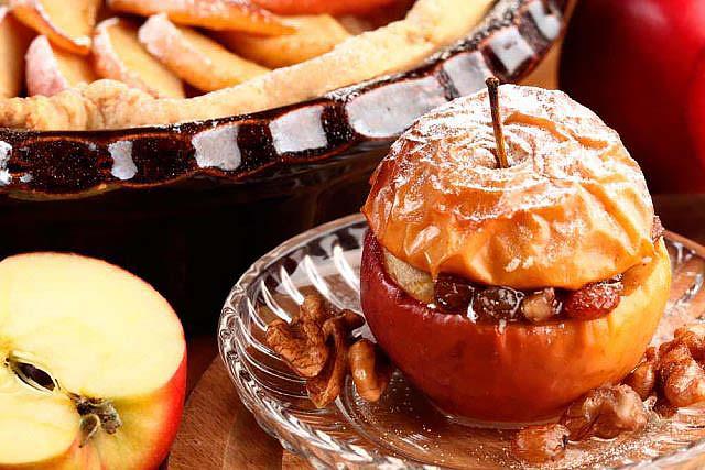 maçã assada com frutos secos