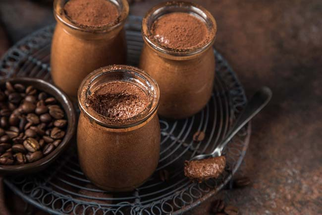 mousses de chocolate e café