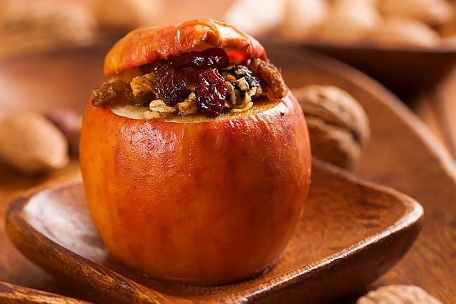 maçã assada para o lanche