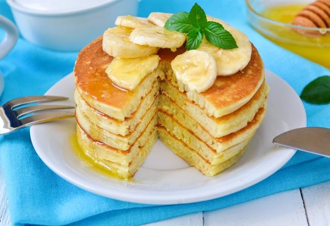 Panquecas de iogurte e banana
