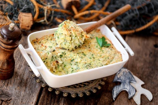 bacalhau gratinado com puré