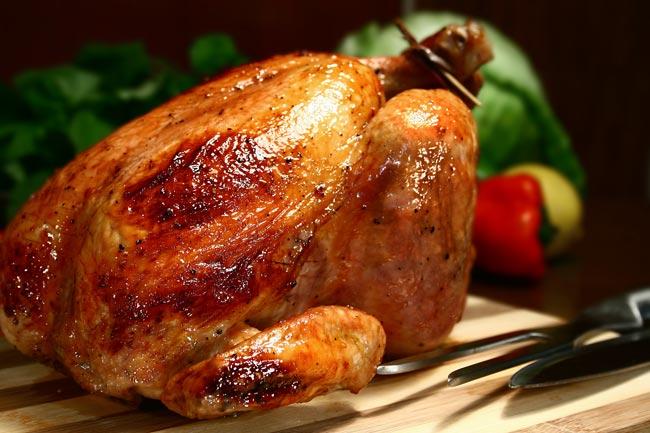 Perfeito e suculento frango assado
